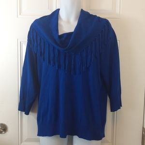 Kim Rogers royal blue fringed cowl neck sweater